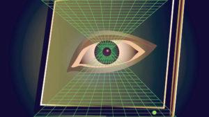 Øje på pc-skærm, grafisk illustration