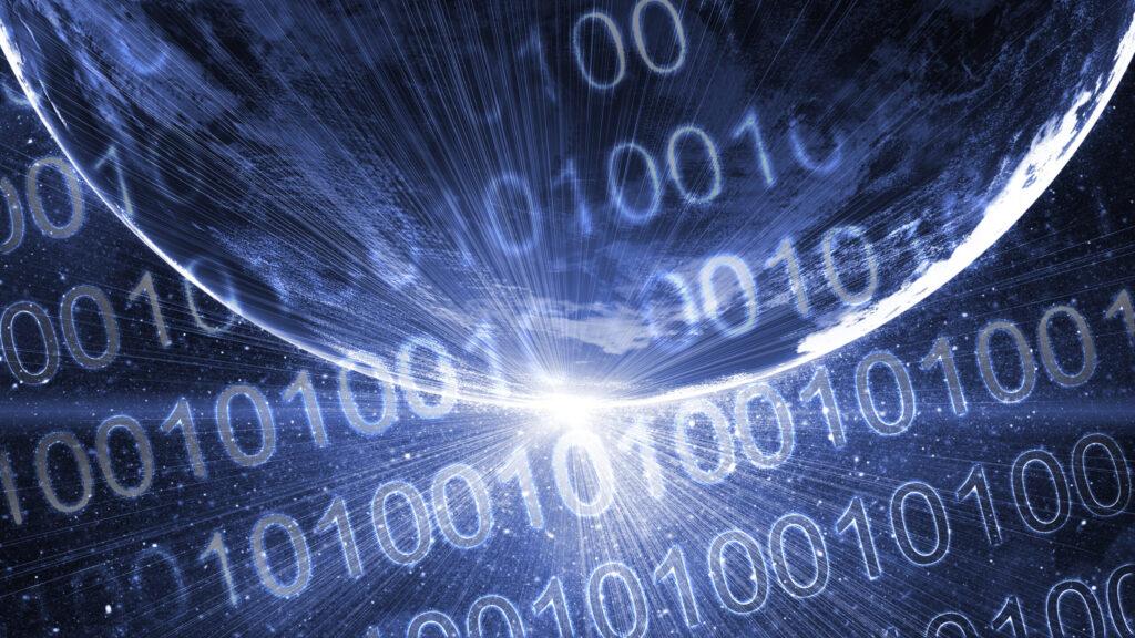 Binary code on high technology backgroun